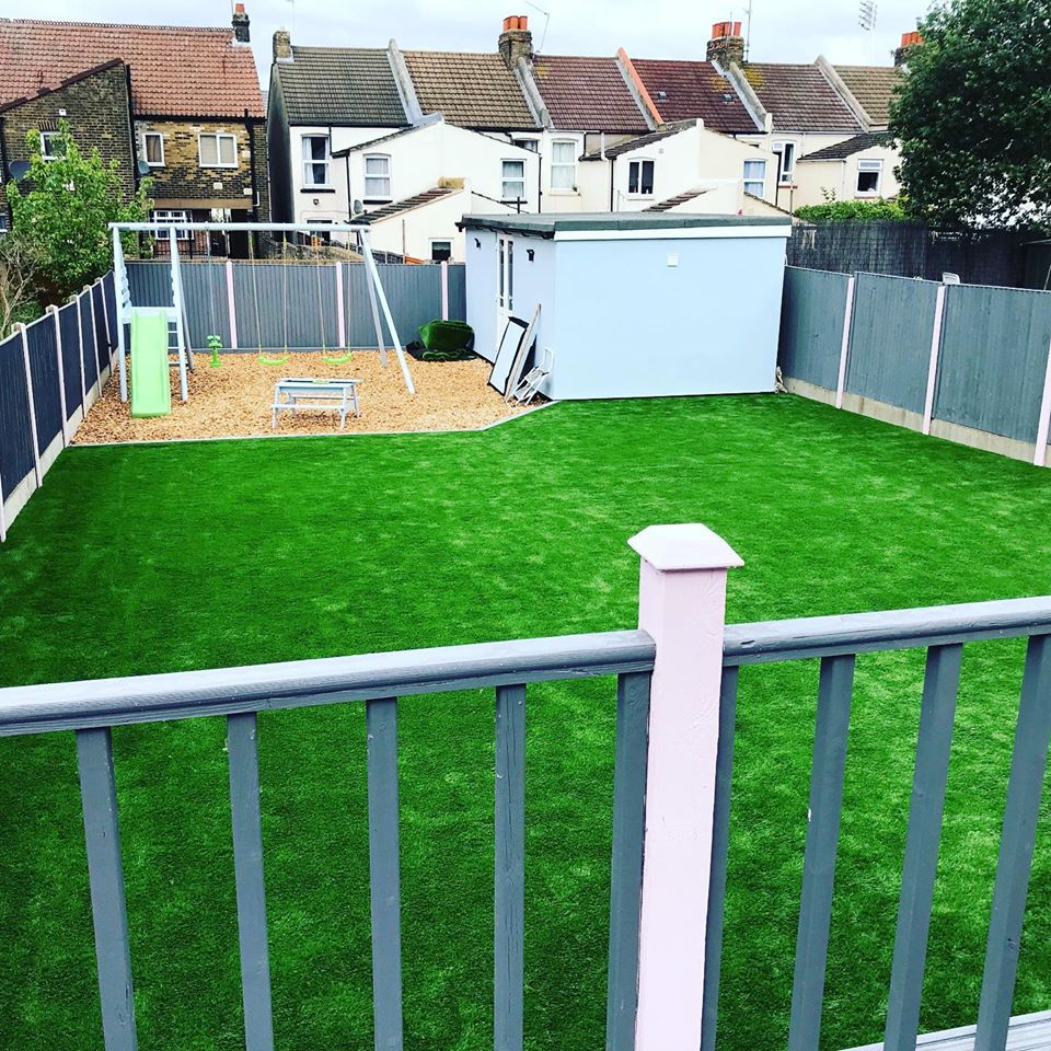 Artificial Grass and Bark Play Area
